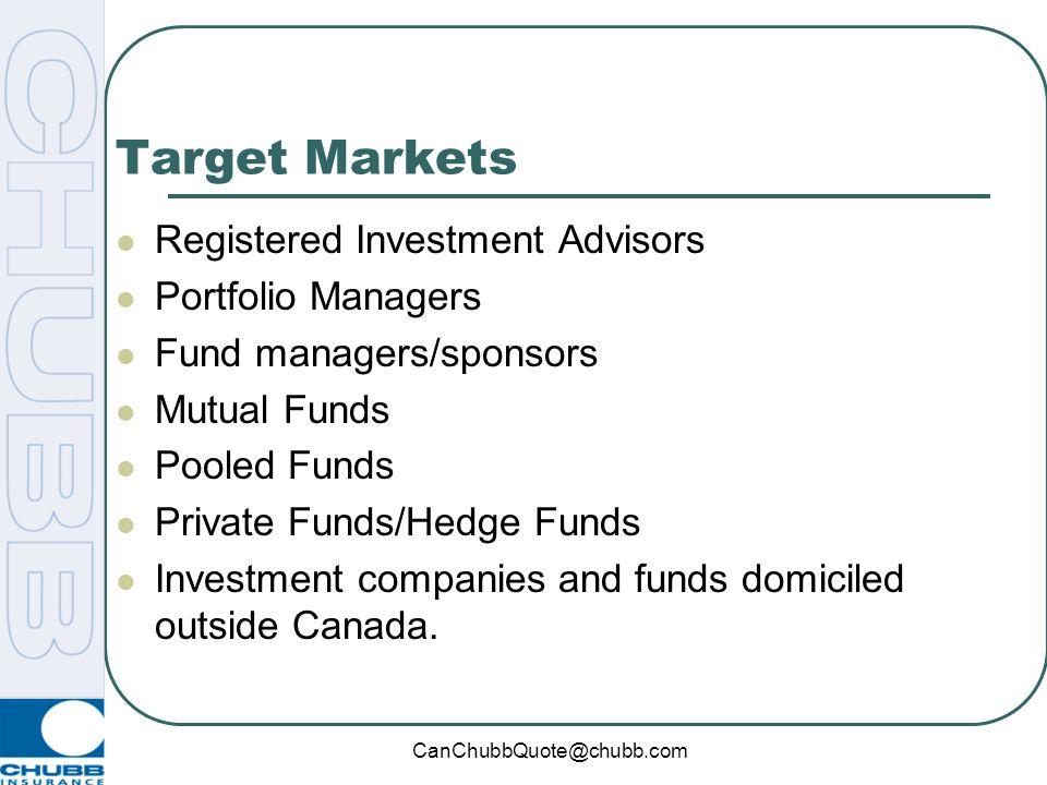 Target Markets Registered Investment Advisors Portfolio Managers