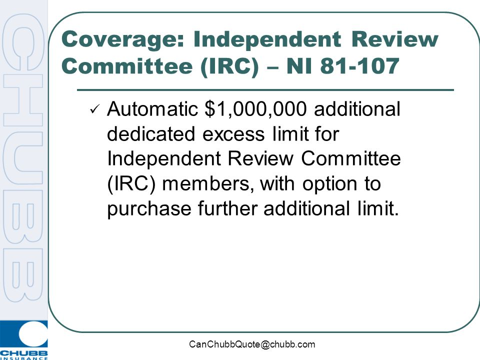 Coverage: Independent Review Committee (IRC) – NI 81-107