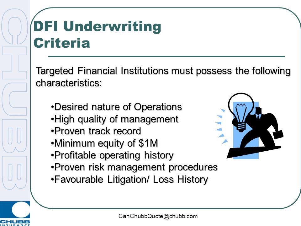DFI Underwriting Criteria