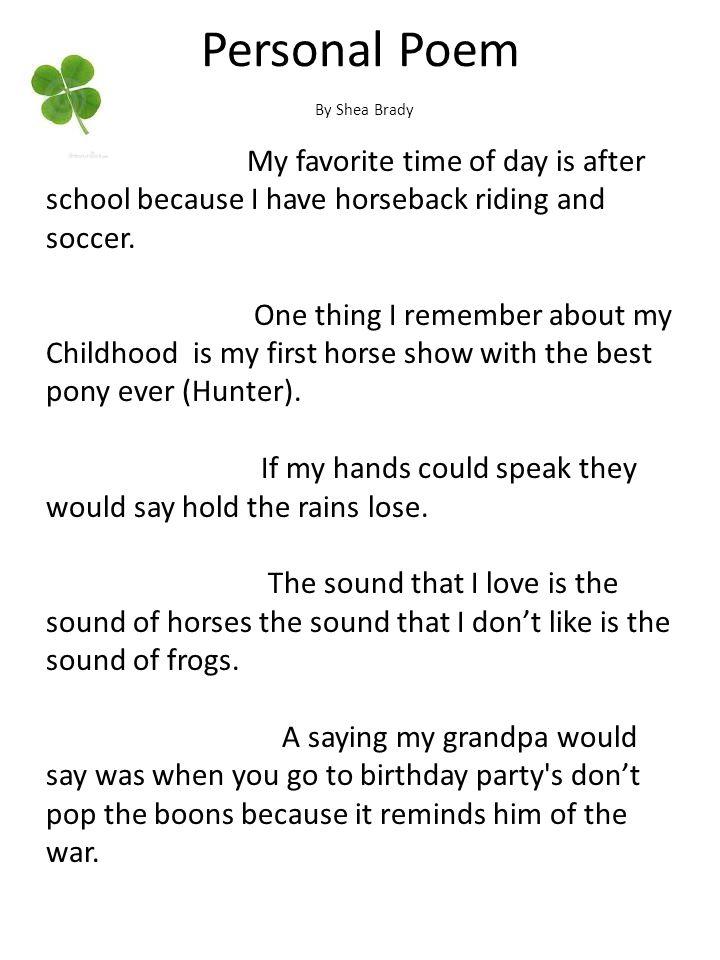 Personal Poem By Shea Brady.