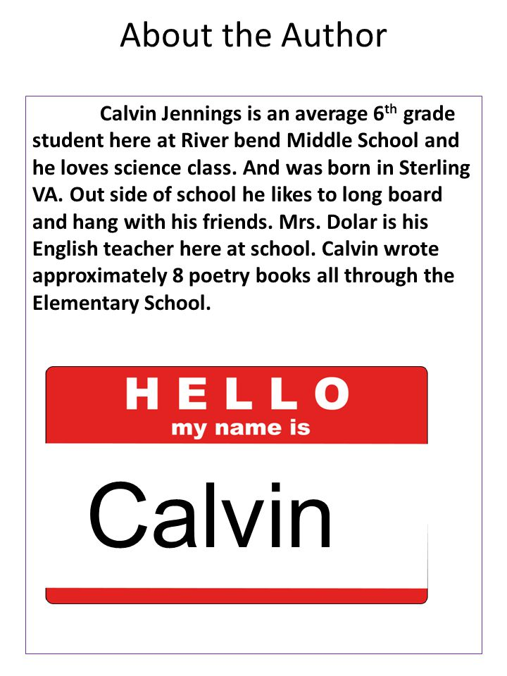 Calvin About the Author