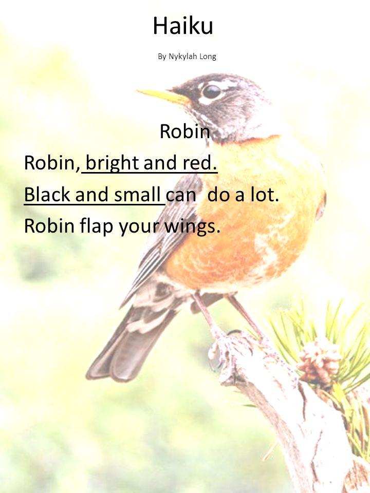 Haiku By Nykylah Long. Robin Robin, bright and red.
