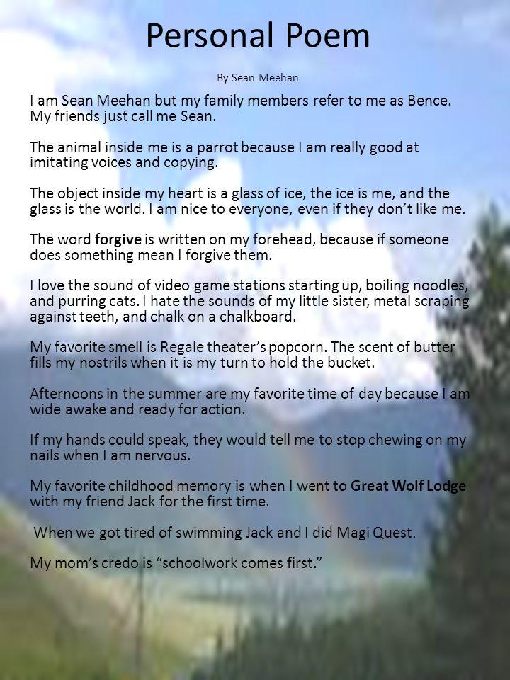 Personal Poem By Sean Meehan.