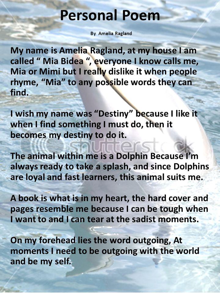 Personal Poem By Amelia Ragland.