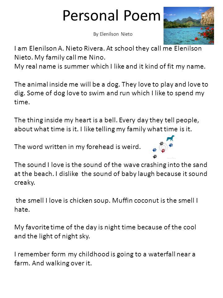 Personal Poem By Elenilson Nieto.