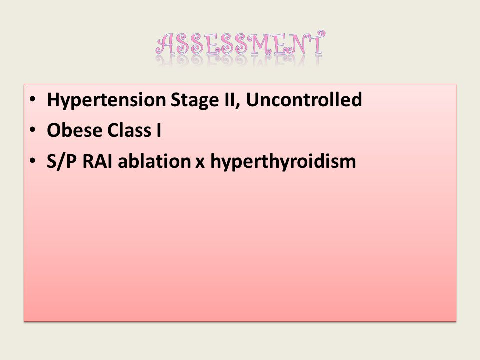 ASSESSMENT Hypertension Stage II, Uncontrolled Obese Class I