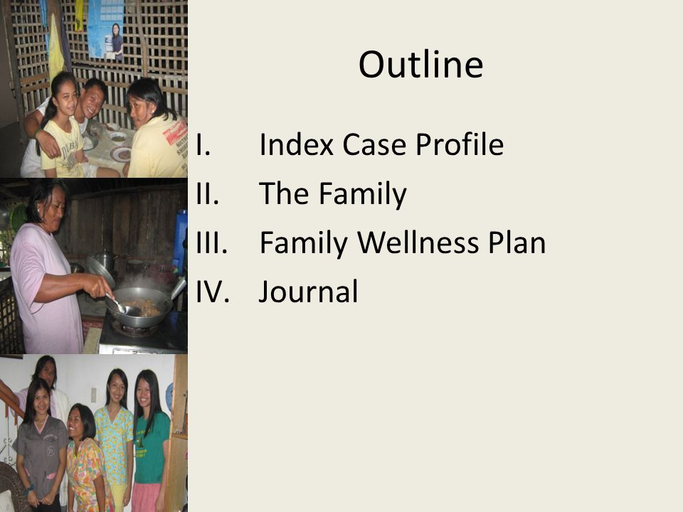 Outline Index Case Profile The Family Family Wellness Plan Journal