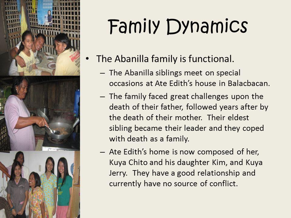 Family Dynamics The Abanilla family is functional.