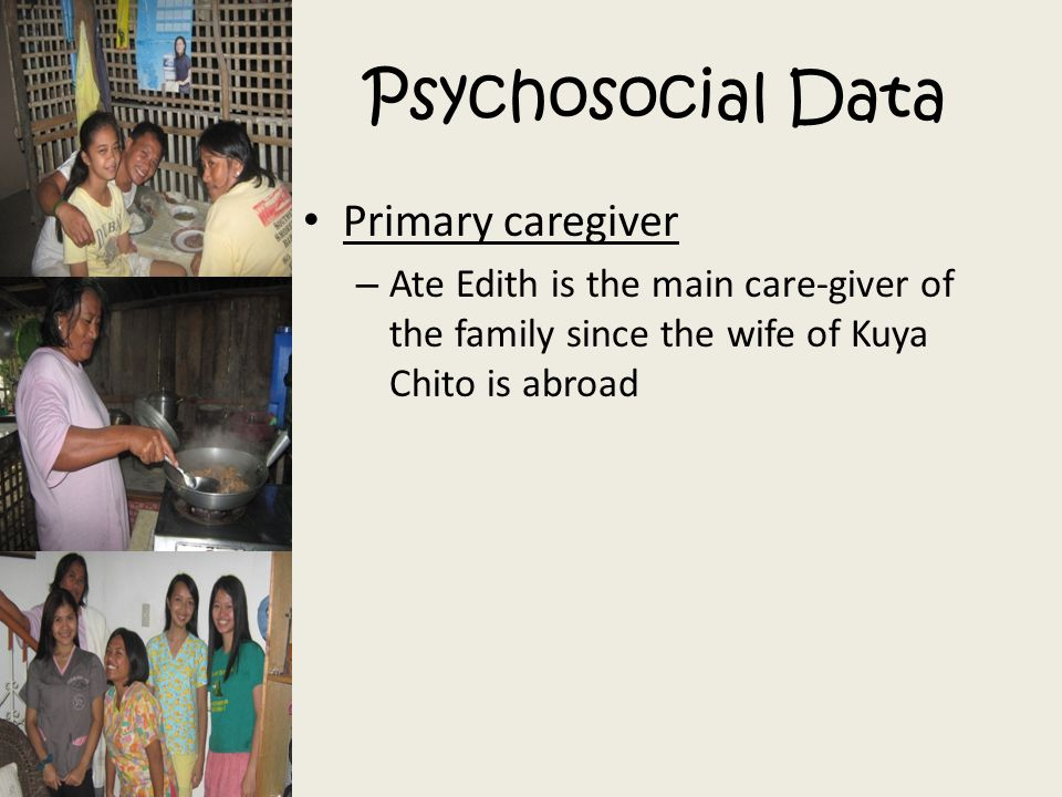 Psychosocial Data Primary caregiver