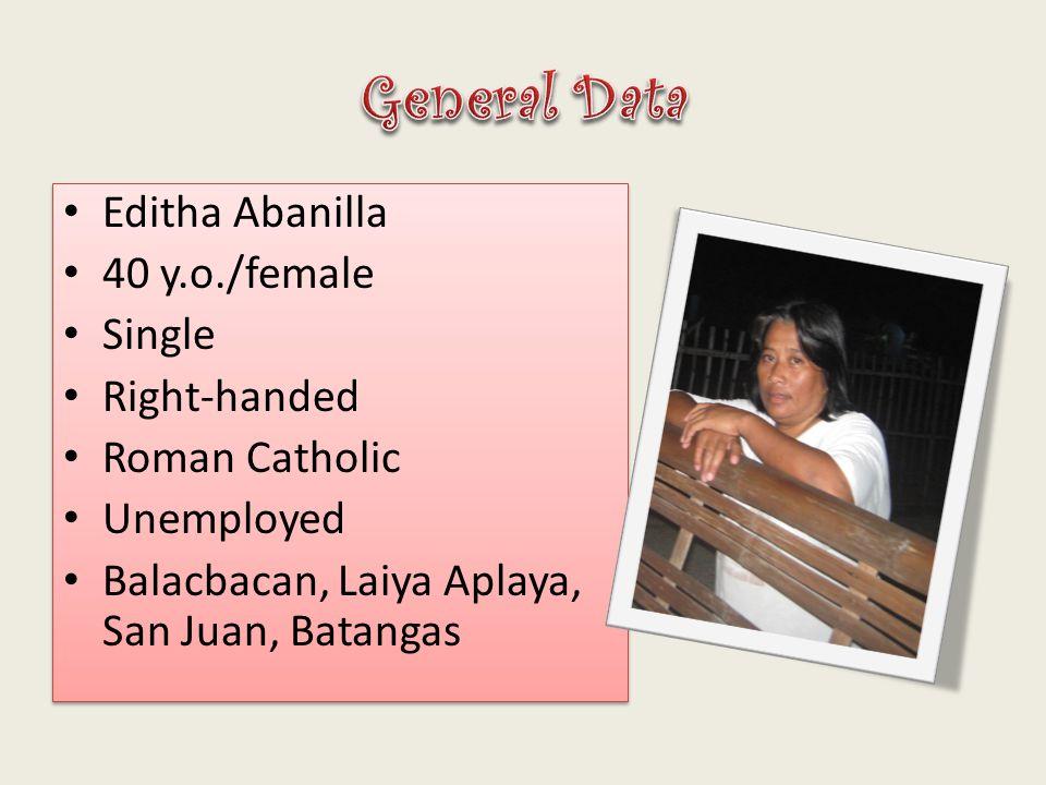 General Data Editha Abanilla 40 y.o./female Single Right-handed