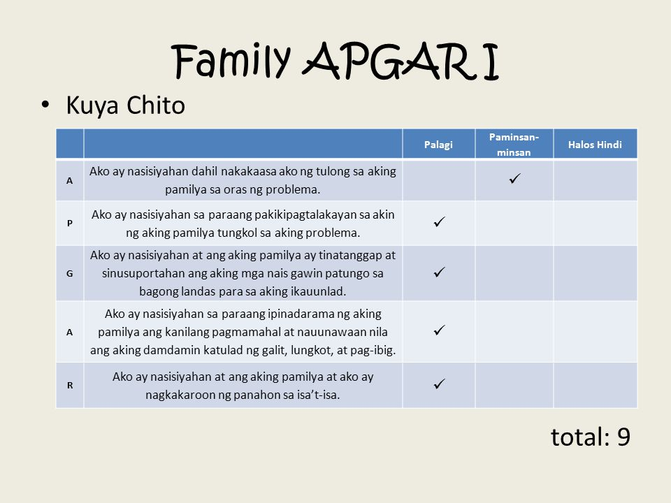 Family APGAR I Kuya Chito total: 9 