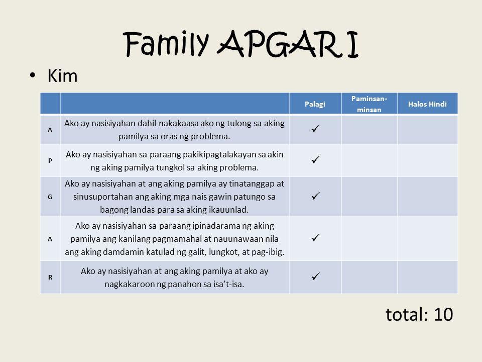 Family APGAR I Kim total: 10 