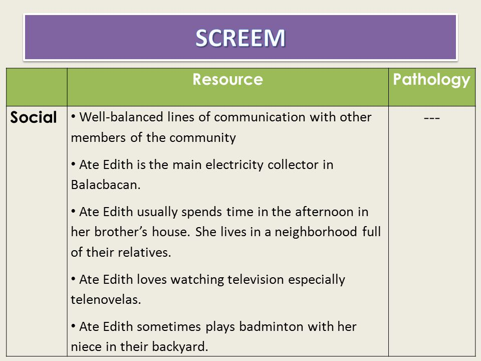 SCREEM Resource Pathology Social ---