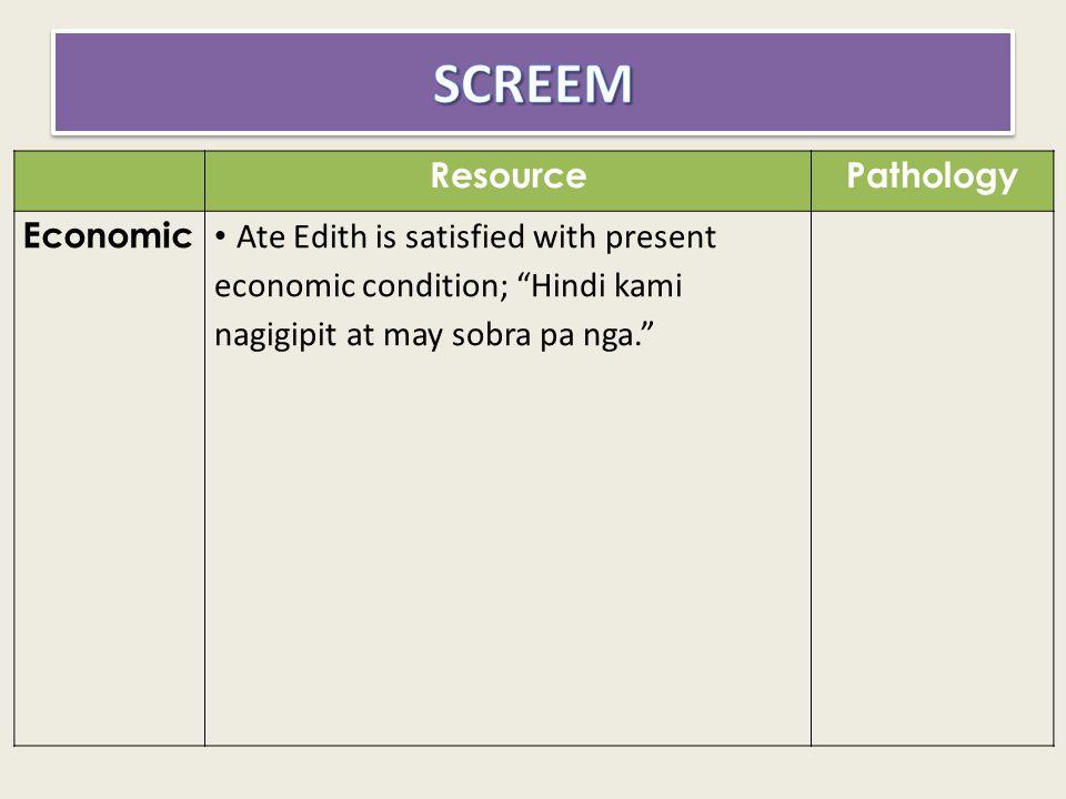 SCREEM Resource Pathology Economic