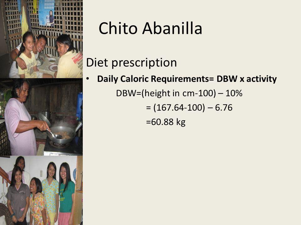 Chito Abanilla Diet prescription