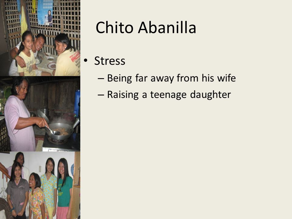 Chito Abanilla Stress Being far away from his wife