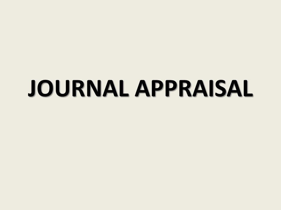 JOURNAL APPRAISAL