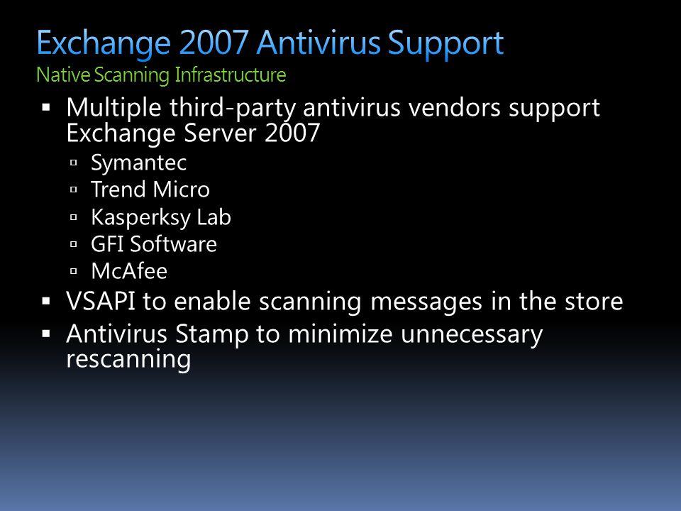 Exchange 2007 Antivirus Support Native Scanning Infrastructure