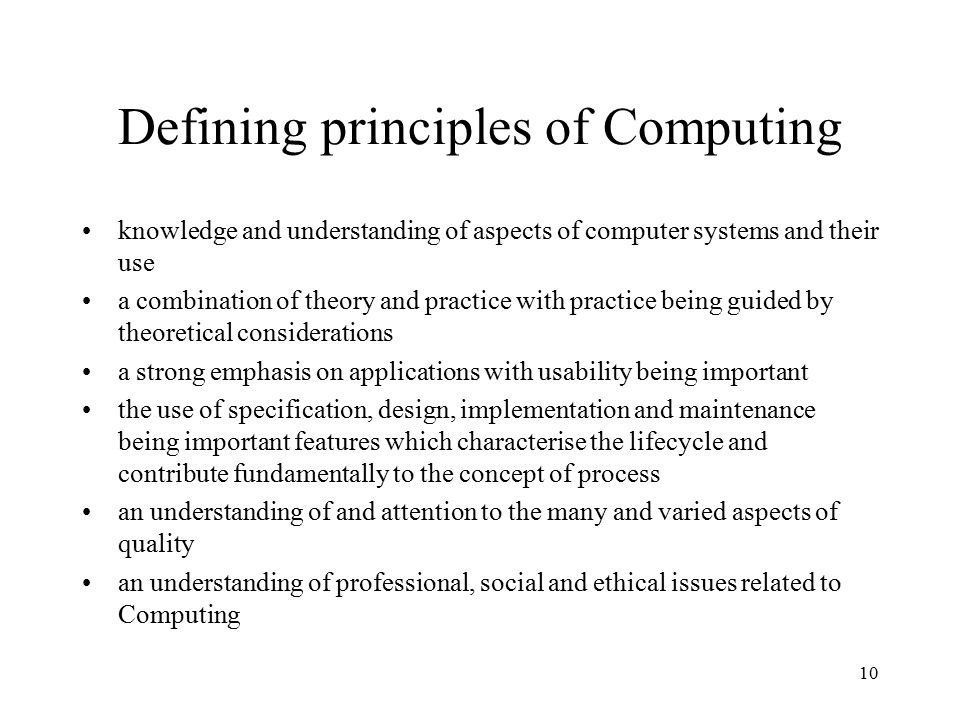 Defining principles of Computing