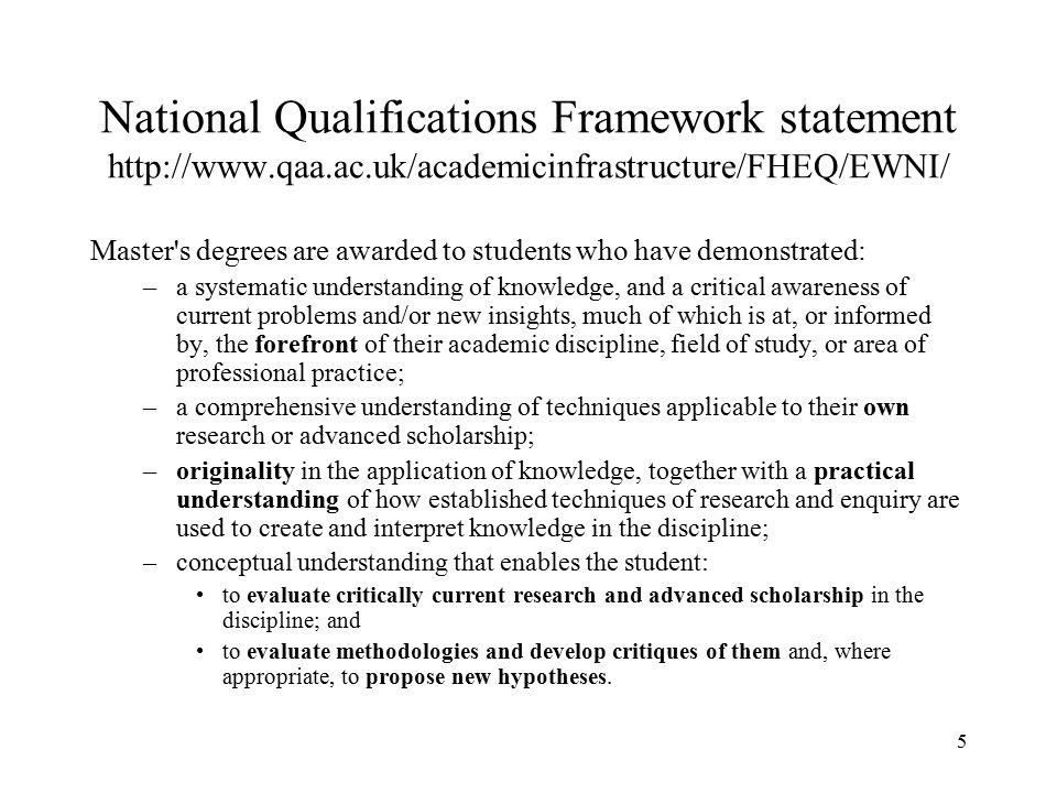 National Qualifications Framework statement http://www. qaa. ac