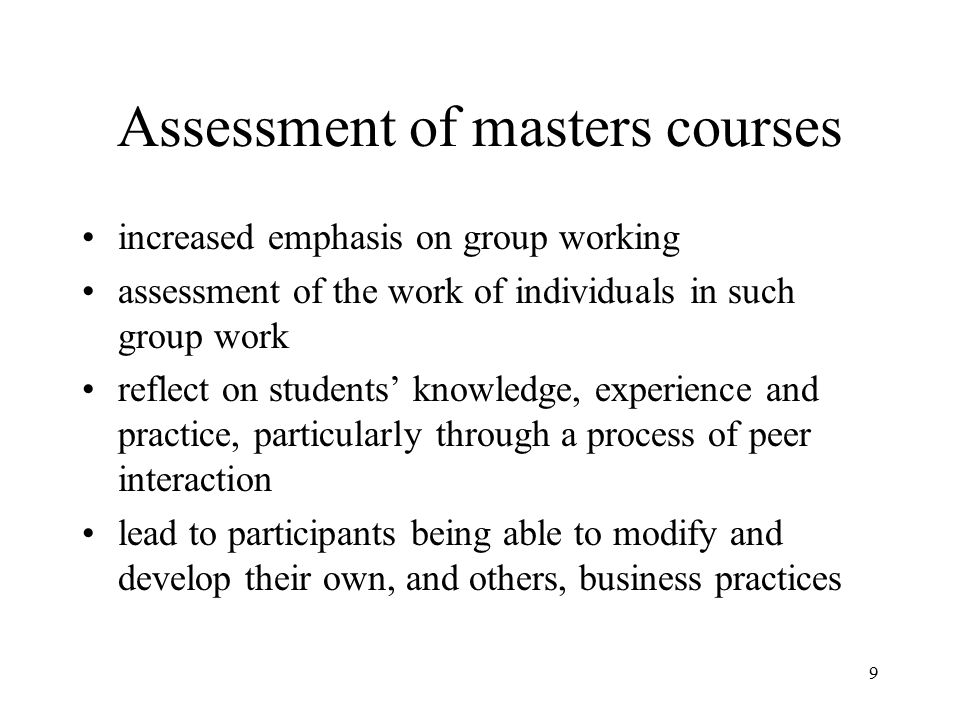 Assessment of masters courses