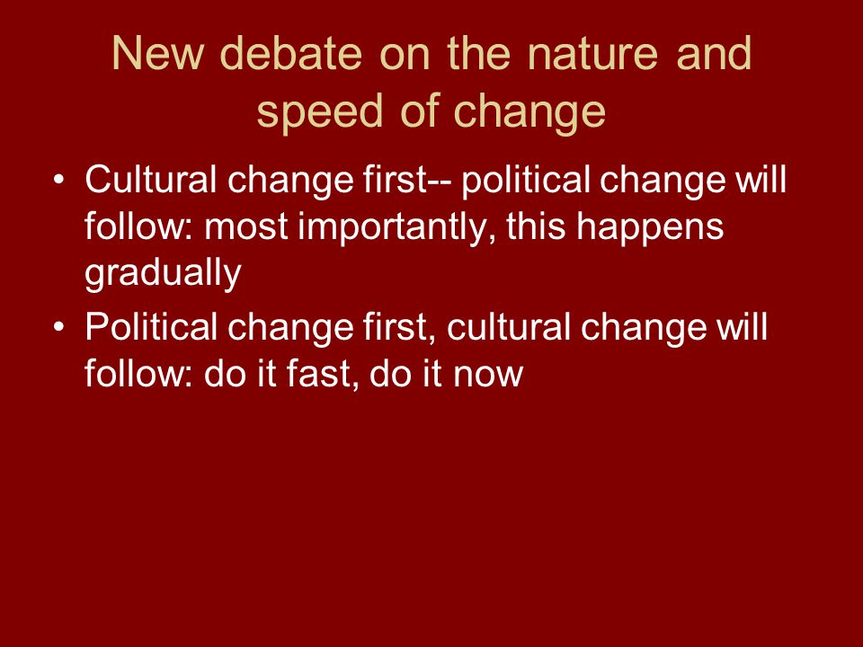 New debate on the nature and speed of change