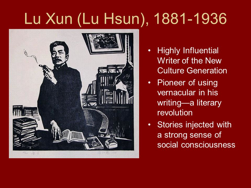 Lu Xun (Lu Hsun), 1881-1936 Highly Influential Writer of the New Culture Generation.