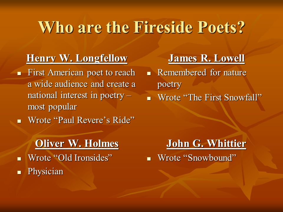 Who are the Fireside Poets
