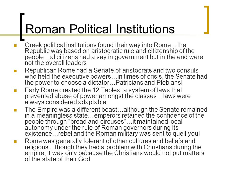 Roman Political Institutions