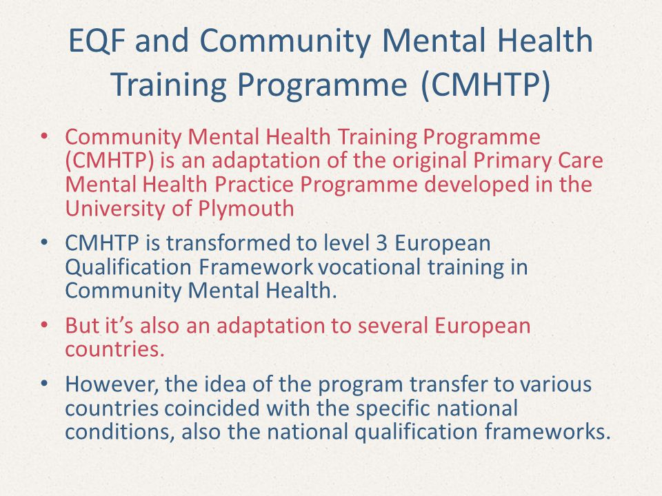 EQF and Community Mental Health Training Programme (CMHTP)