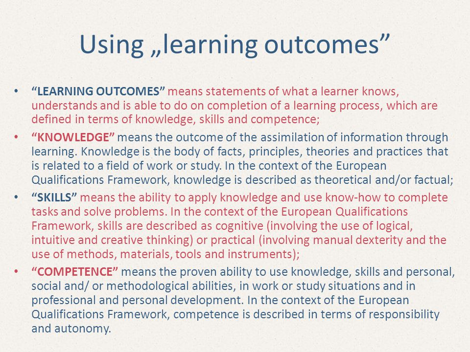 "Using ""learning outcomes"