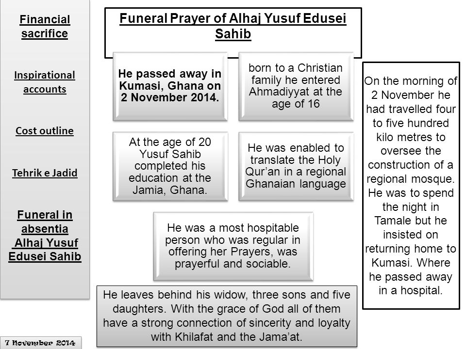 Funeral Prayer of Alhaj Yusuf Edusei Sahib