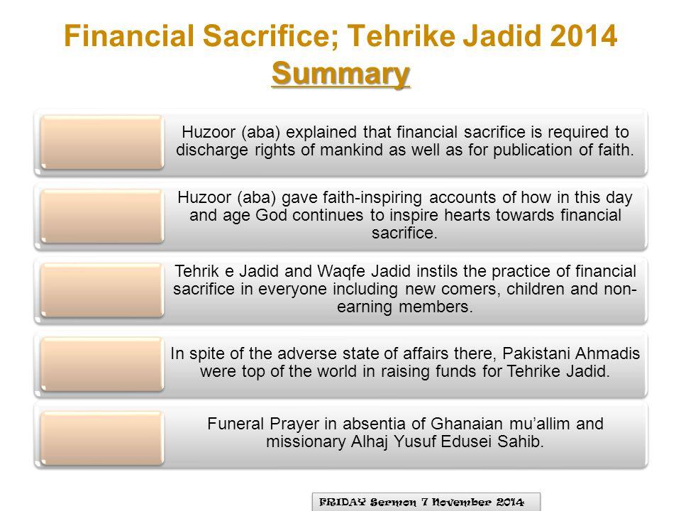 Financial Sacrifice; Tehrike Jadid 2014 Summary