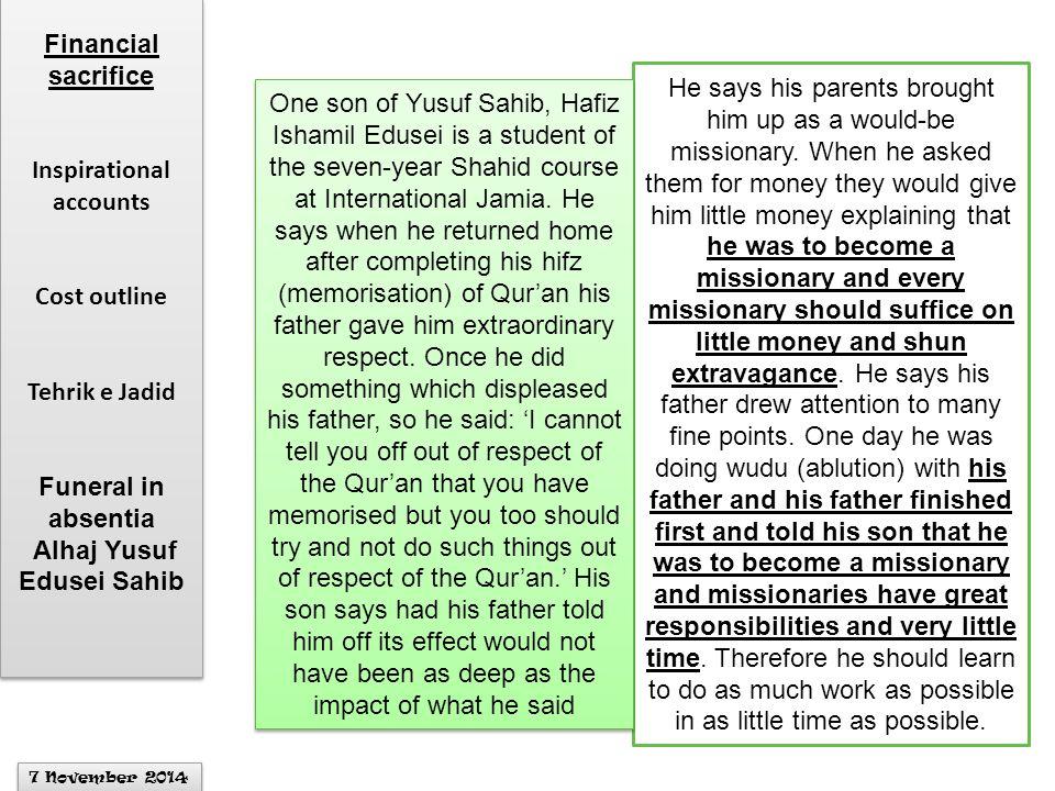 Inspirational accounts Alhaj Yusuf Edusei Sahib