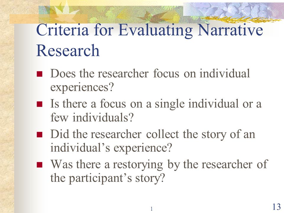 Criteria for Evaluating Narrative Research