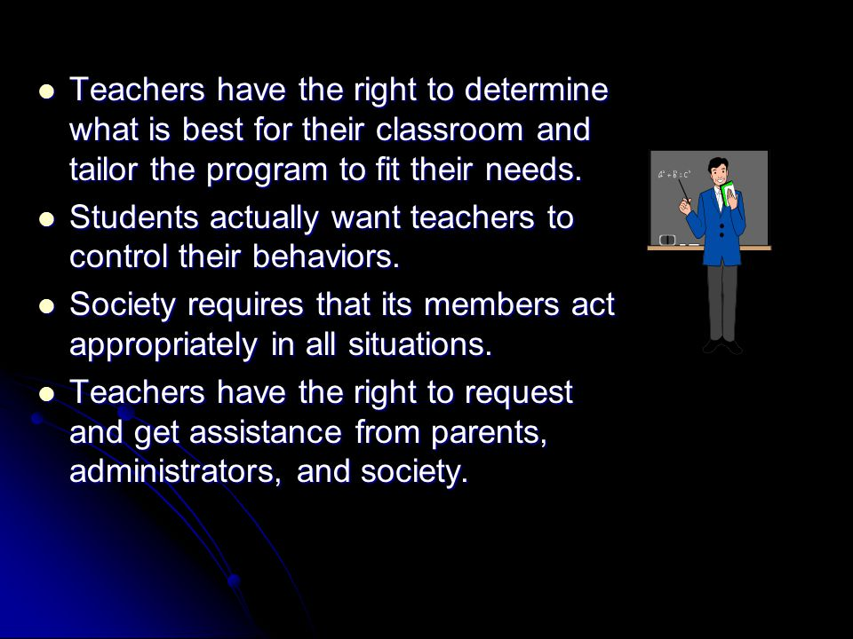 Teachers have the right to determine what is best for their classroom and tailor the program to fit their needs.
