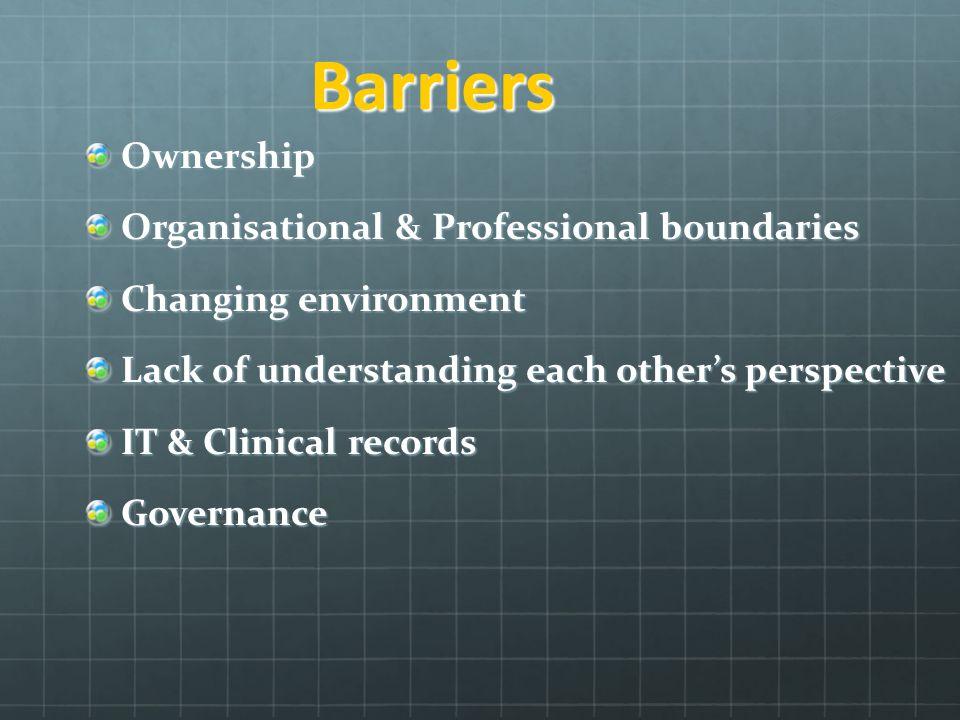Barriers Ownership Organisational & Professional boundaries