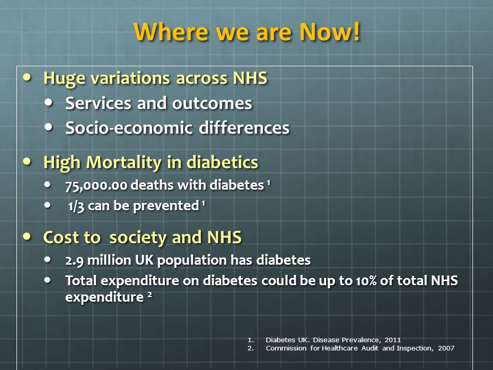 Where we are Now! Huge variations across NHS Services and outcomes