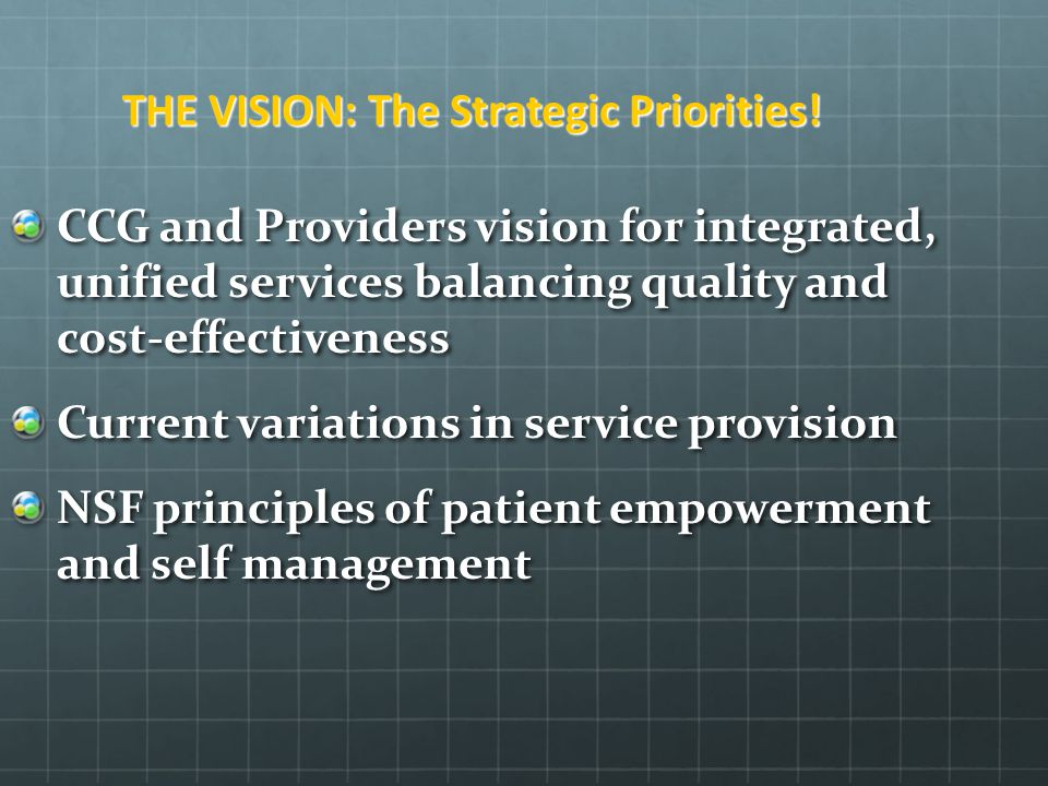 THE VISION: The Strategic Priorities!