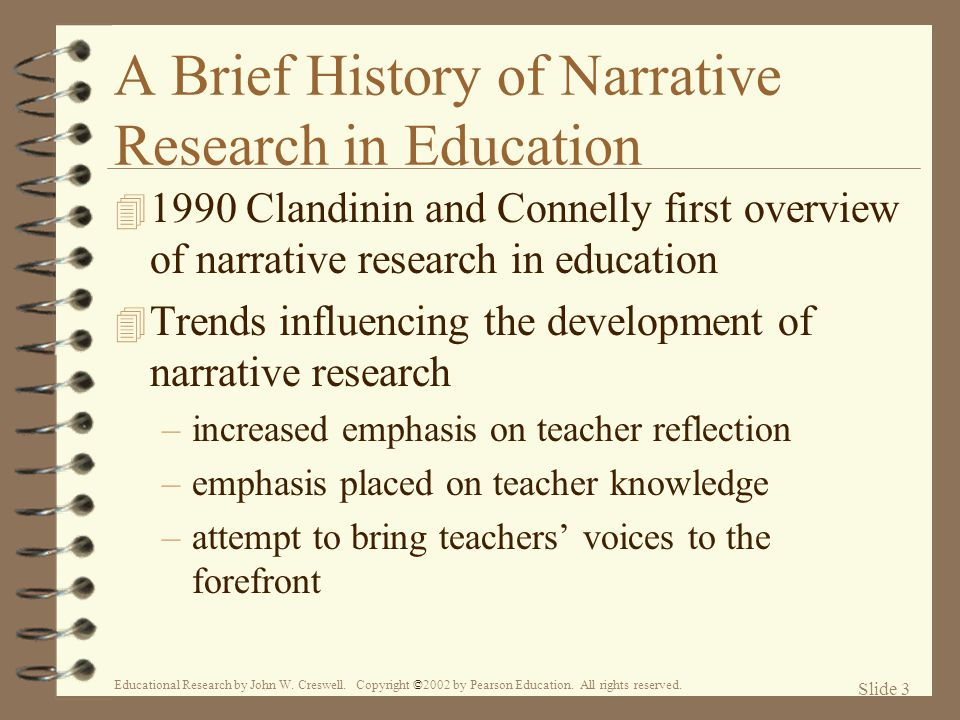 A Brief History of Narrative Research in Education