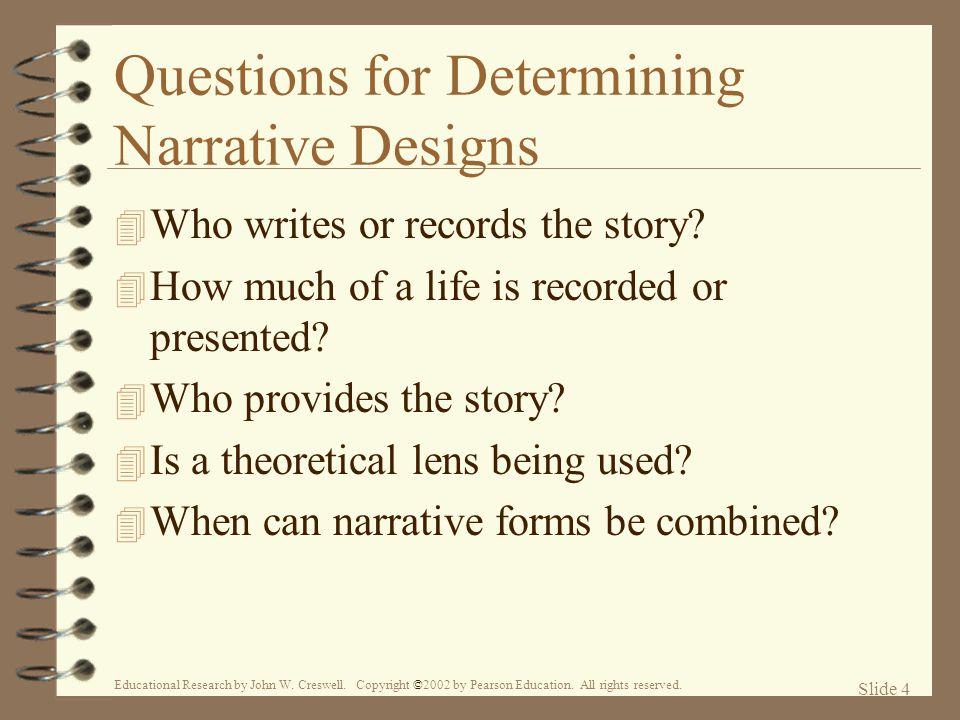 Questions for Determining Narrative Designs