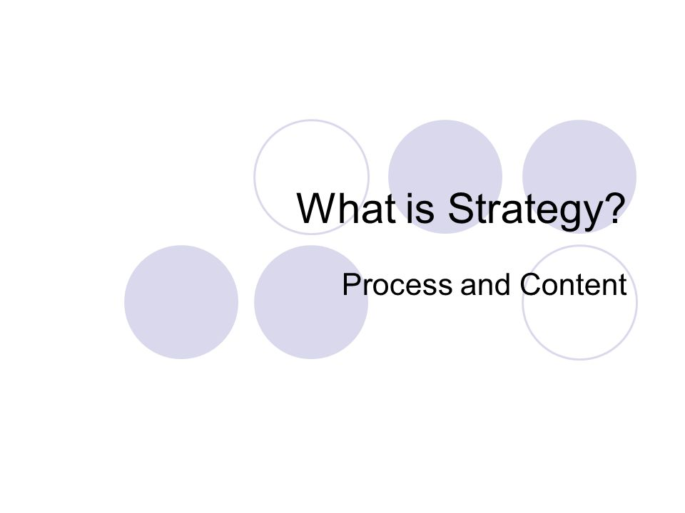 What is Strategy Process and Content