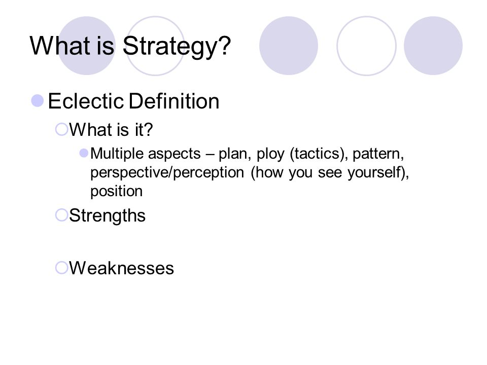 What is Strategy Eclectic Definition What is it Strengths Weaknesses