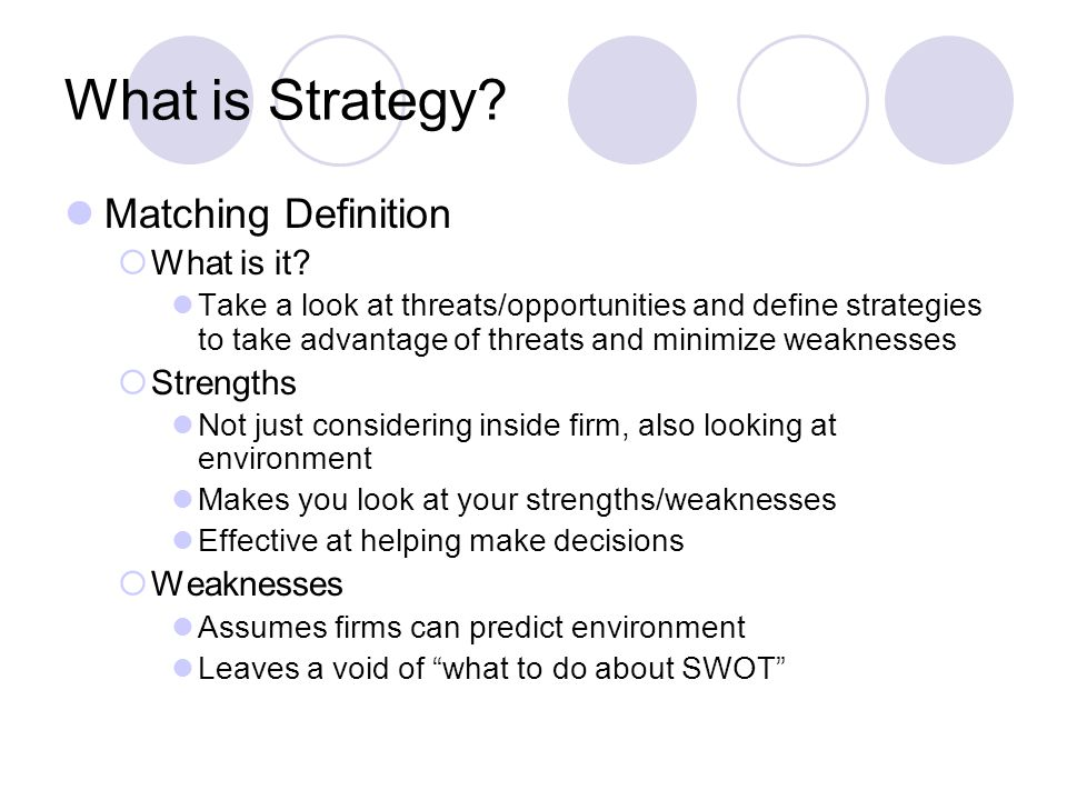 What is Strategy Matching Definition What is it Strengths Weaknesses