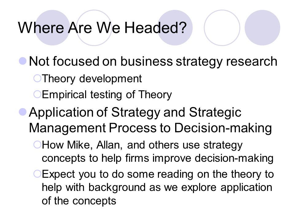 Where Are We Headed Not focused on business strategy research