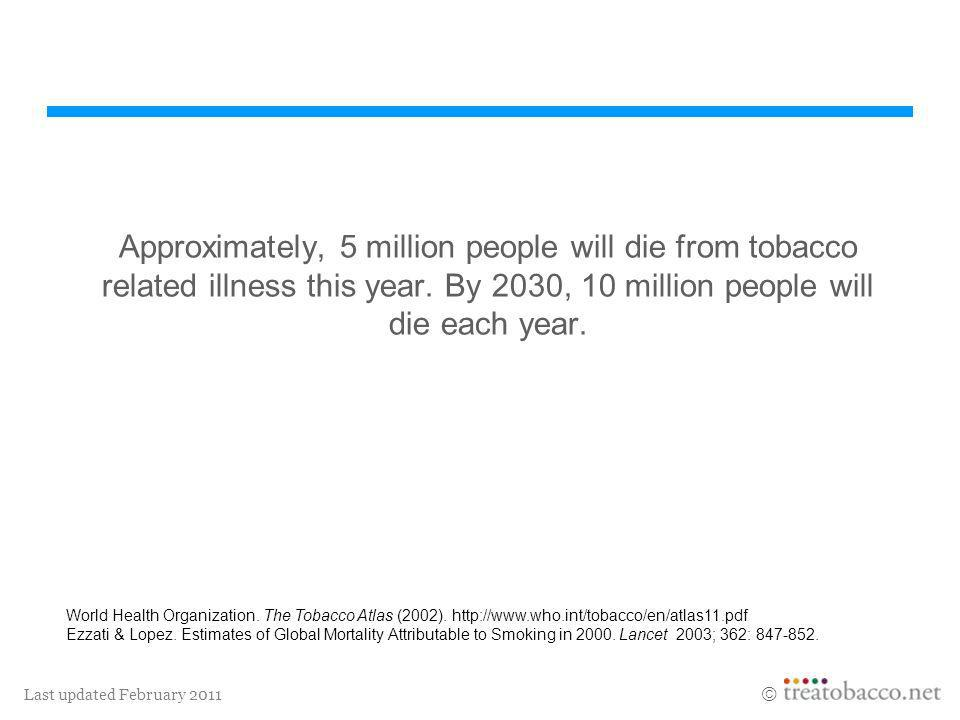 Approximately, 5 million people will die from tobacco related illness this year. By 2030, 10 million people will die each year.