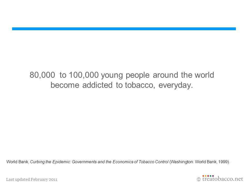 80,000 to 100,000 young people around the world become addicted to tobacco, everyday.