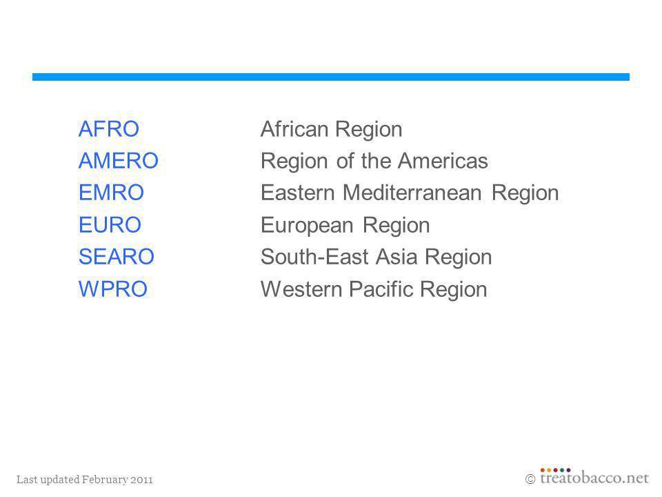 AFRO African Region AMERO Region of the Americas. EMRO Eastern Mediterranean Region. EURO European Region.