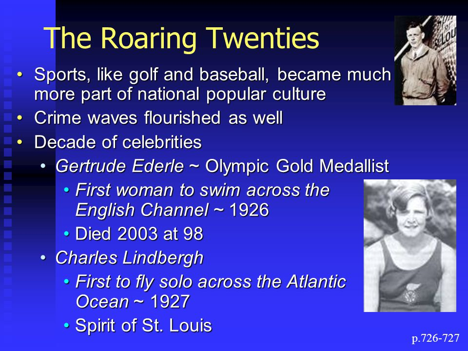 The Roaring Twenties Sports, like golf and baseball, became much more part of national popular culture.