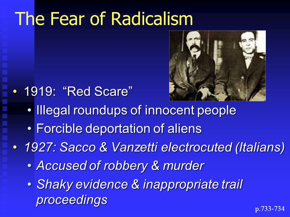 The Fear of Radicalism 1919: Red Scare